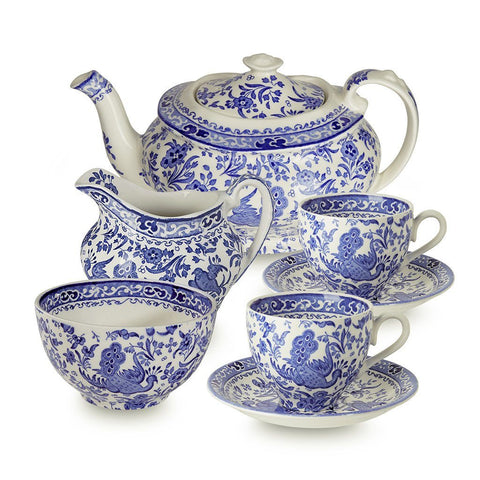 Blue Regal Peacock Tea Set