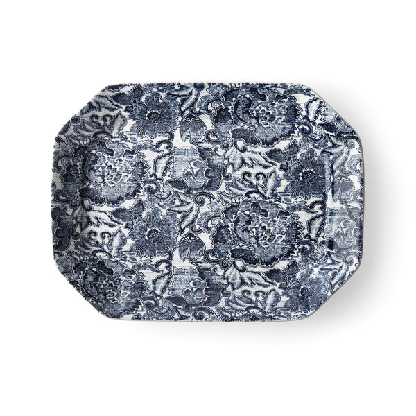 Faded Peony Indigo Rectangular Platter
