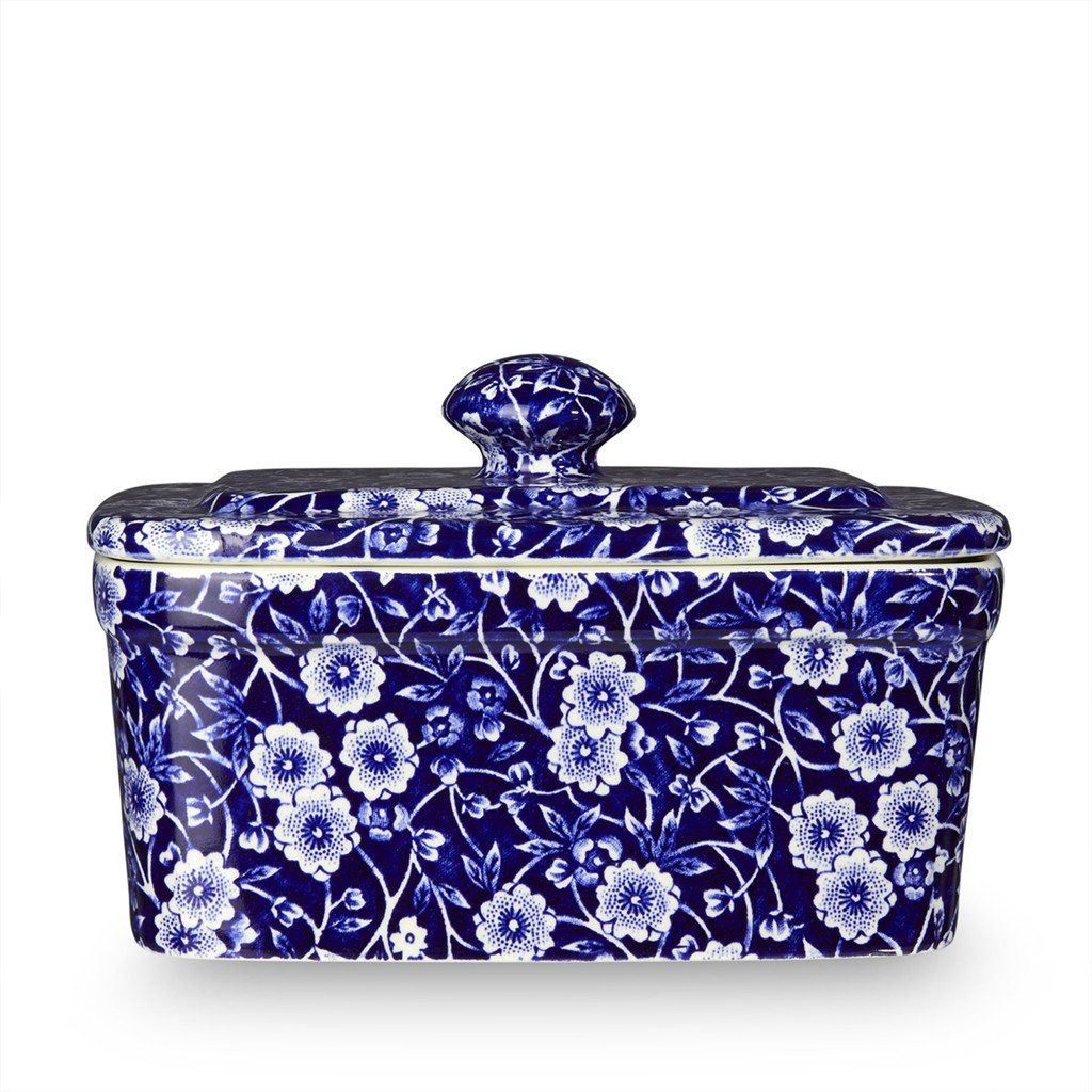 Butter Dish - Blue Calico Butter Dish 400g/1lb
