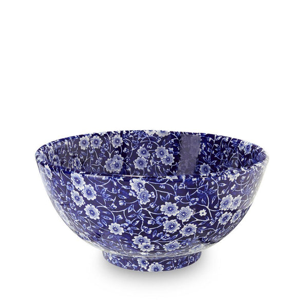 "Chinese Bowl - Blue Calico Medium Footed Bowl 20.5cm/8"" Seconds"