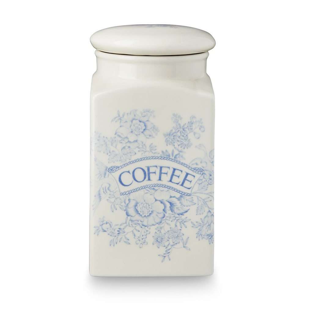 Coffee Square Covered Storage Jar - Blue Asiatic Pheasants Coffee Square Covered Storage Jar