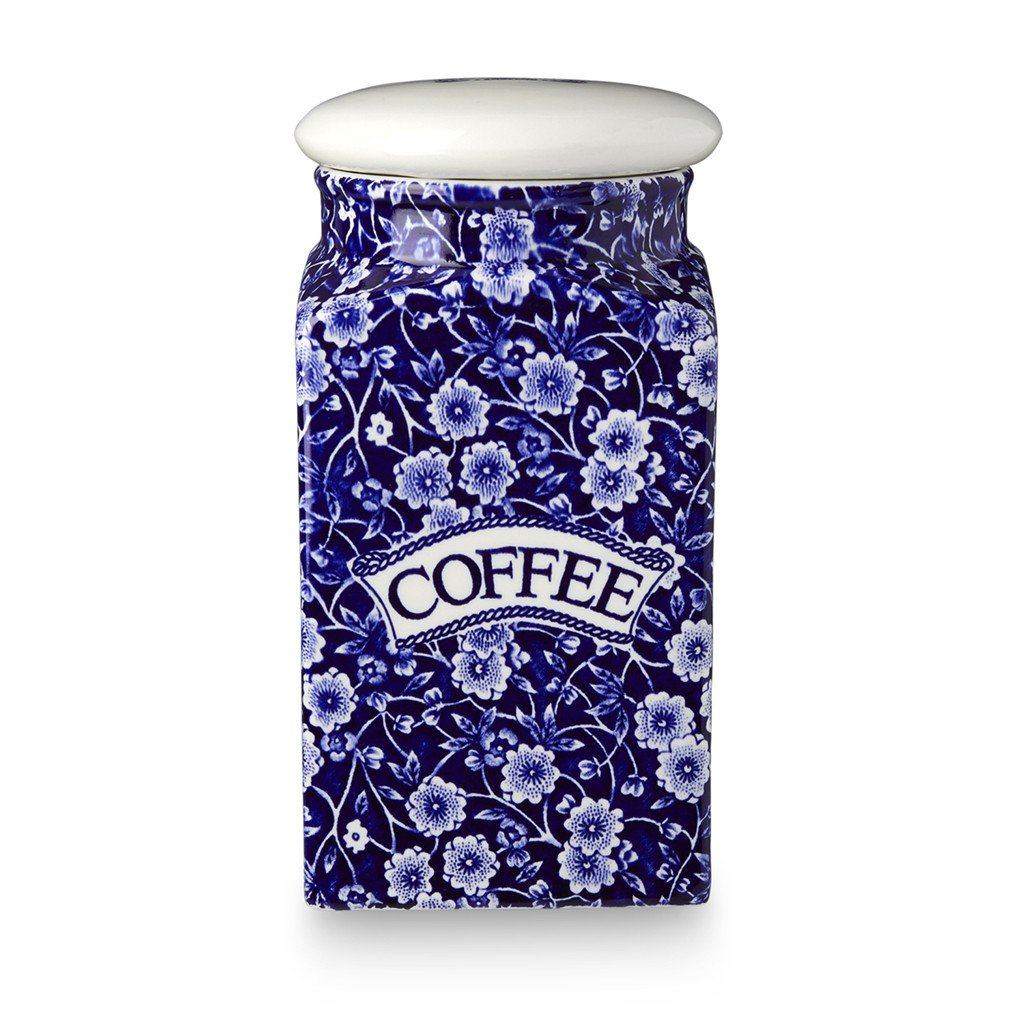 Coffee Square Covered Storage Jar - Blue Calico Coffee Square Covered Storage Jar