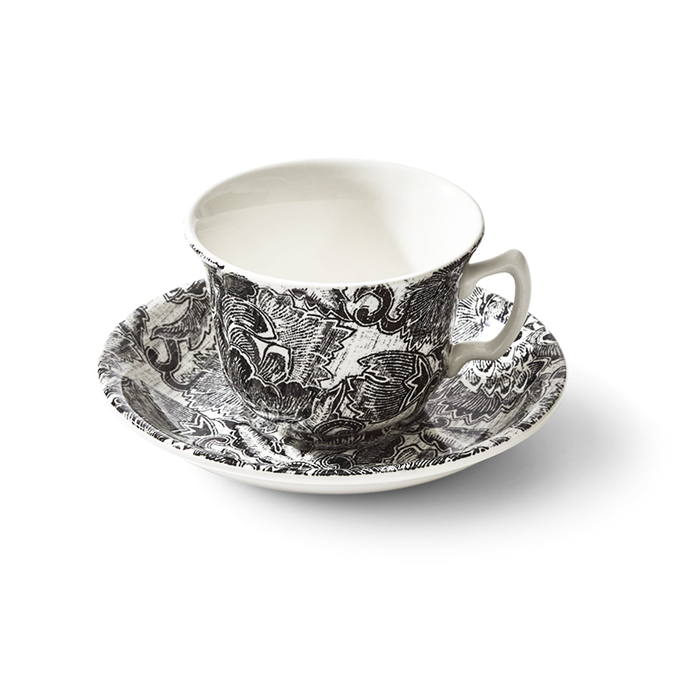 Faded Peony Black Teacup and Saucer