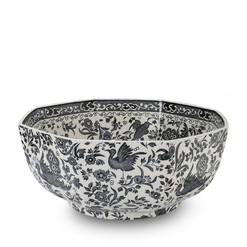 Black Regal Peacock Octagonal Bowl Medium 20.5cm/8""