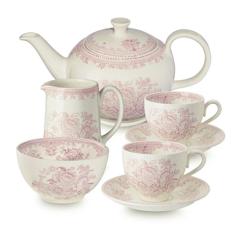 Pink Asiatic Pheasant Tea Set