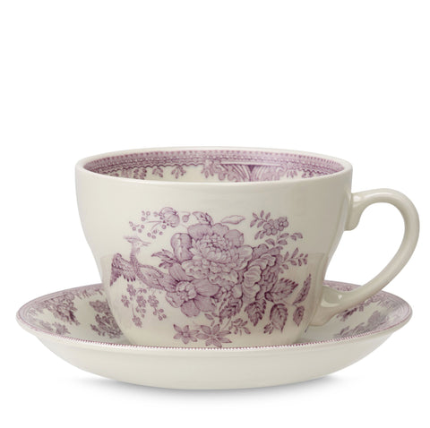 Plum Asiatic Pheasants Breakfast Cup and Saucer