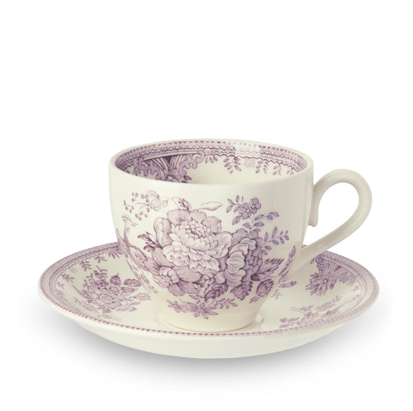 Plum Asiatic Pheasants Teacup And Saucer