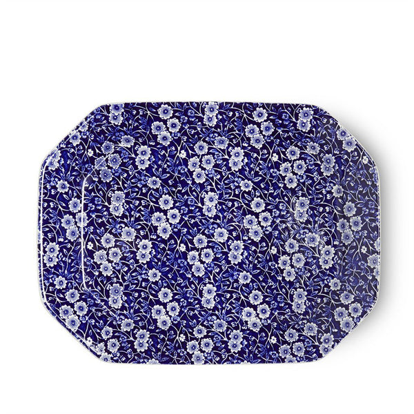"Rectangular Dish - Blue Calico Rectangular Platter 34cm/13.5"" Seconds"