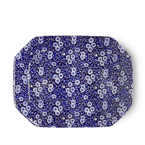 "Blue Calico Rectangular Platter 34cm/13.5"" Seconds"
