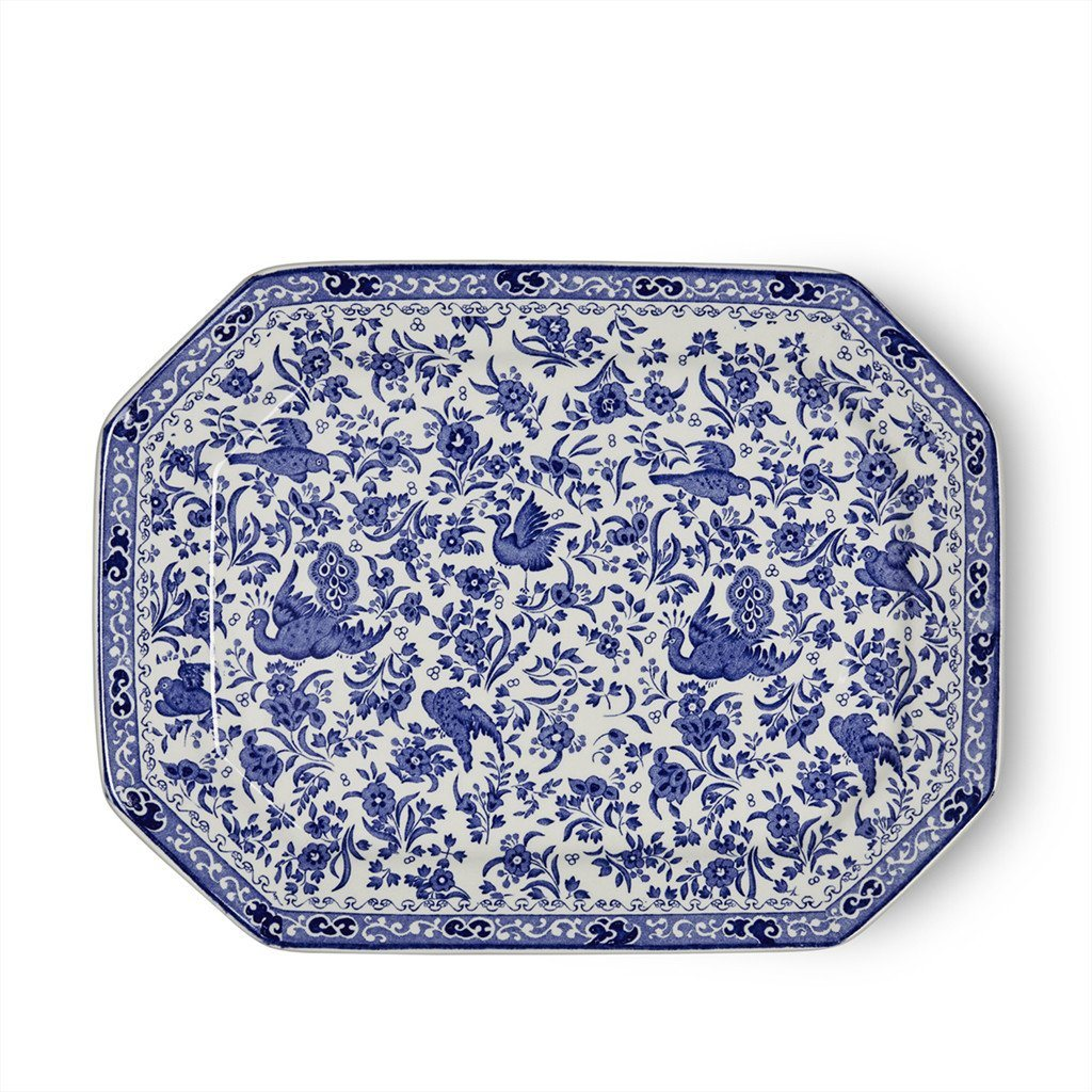 "Rectangular Dish - Blue Regal Peacock Rectangular Platter 34cm/13.5"" Seconds"