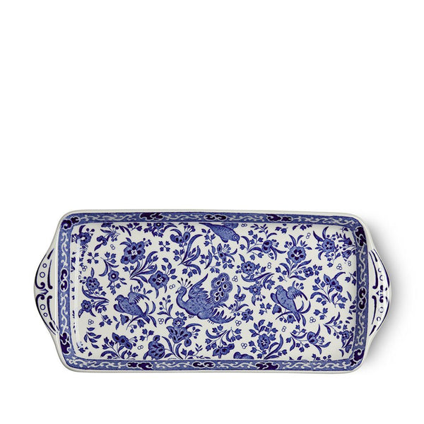 "Sandwich Tray - Blue Regal Peacock Rectangular Tray 28cm/11"" Seconds"