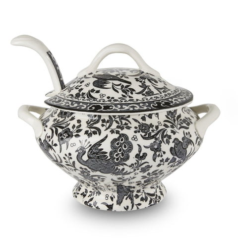 Black Regal Peacock Sauce Tureen & Ladle