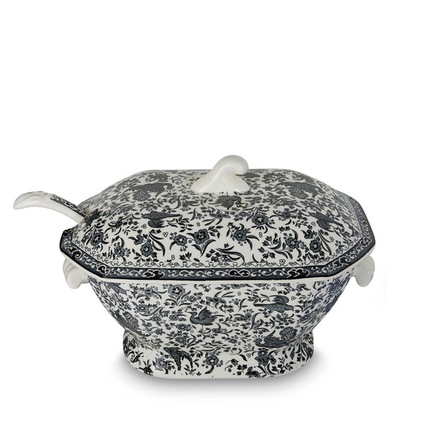 Soup Tureen & Ladle - Black Regal Peacock Soup Tureen & Ladle