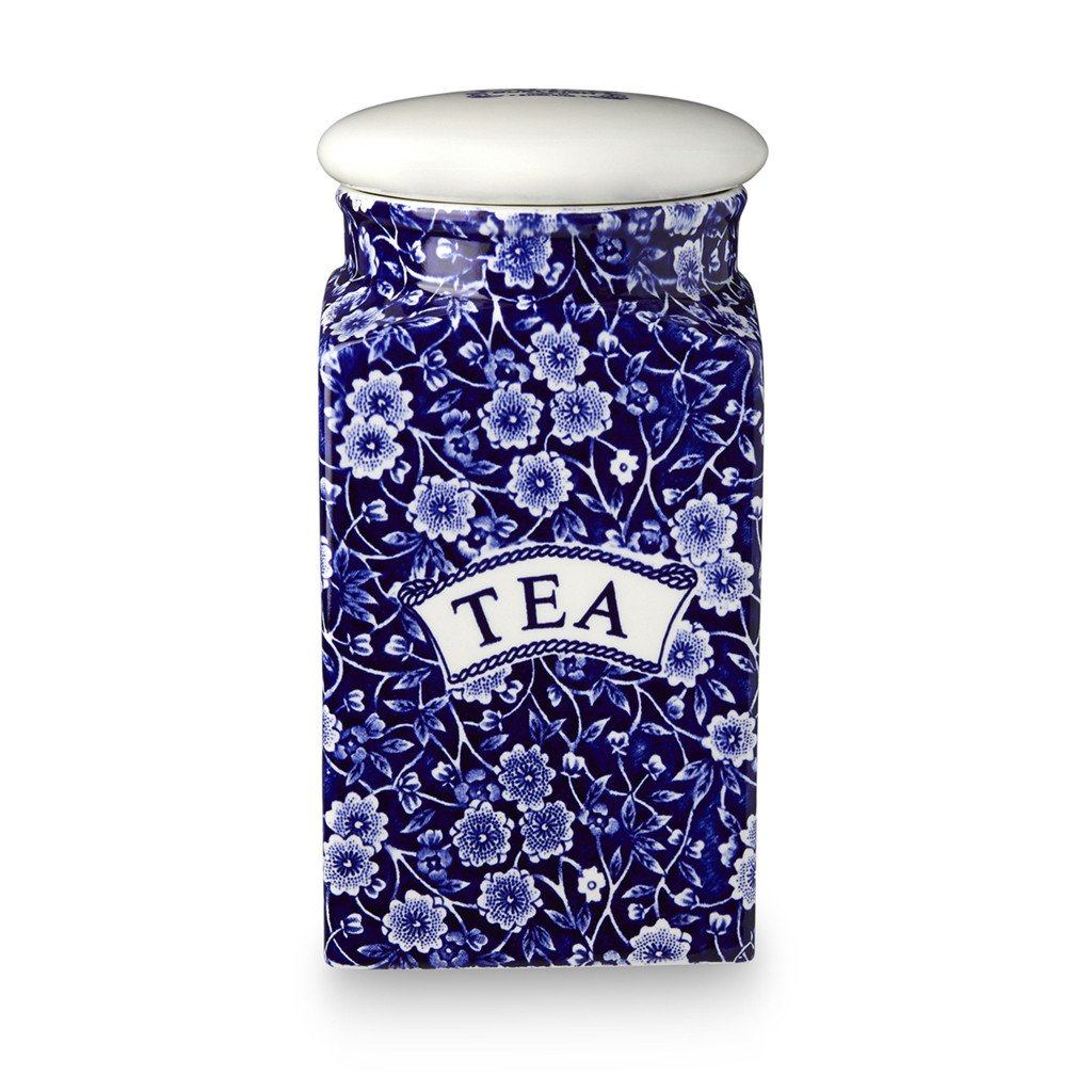 Tea Square Covered Storage Jar - Blue Calico Tea Square Covered Storage Jar