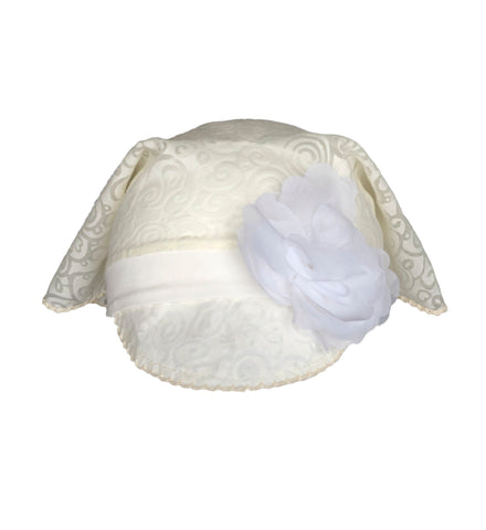Beige Bandana Hat with Flower for Girls
