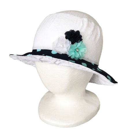 Summer Sun Hat White Dotted pattern for Girls