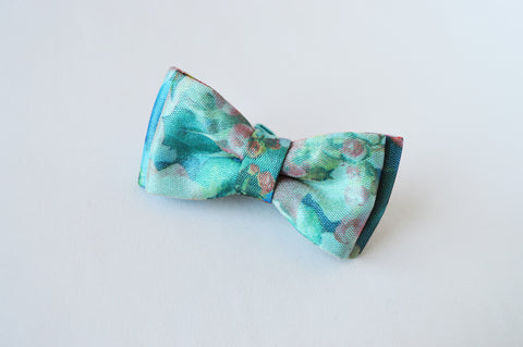 Turquoise Flower Bow tie