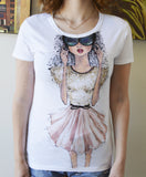 White Designer Doll T-shirt
