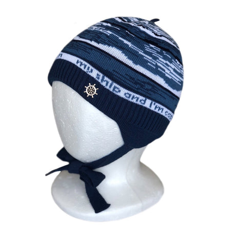 Knitted winter Hat for Boys with ties