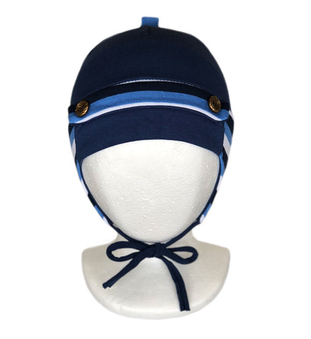 Baby Boy Knitted Winter Hat Navy Blue Covers Ears With Strings