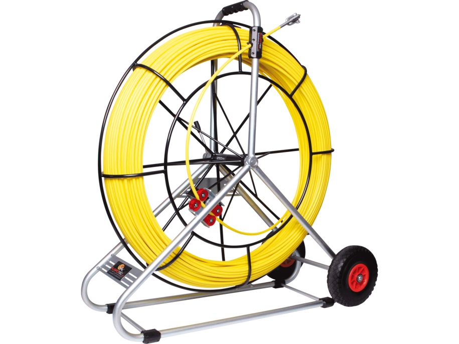 FIBERGLASS ROD Ø 9MM WITH STEEL CAGE INCL. NEW DOUBLE-OUTLET SYSTEM 150m
