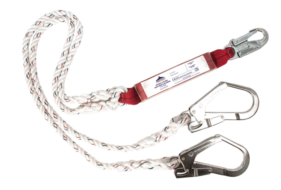 Double Lanyard With Shock Absorber White