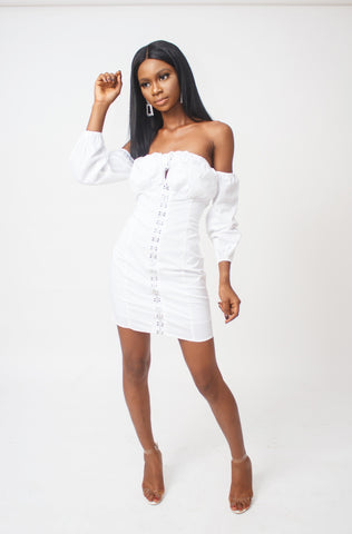 Mary Buckle Off Shoulder Dress (White)