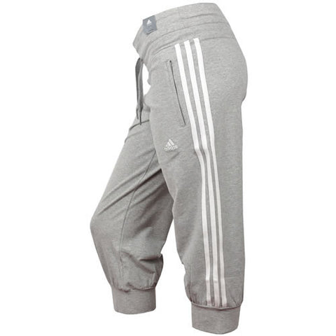 Adidas ladies ESS grey 3/4 length tracksuit bottoms