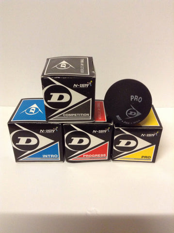 Squash balls single. By Dunlop various grades.