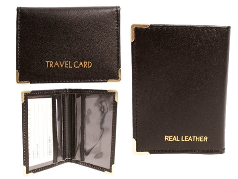 1496 BLACK SMOOTH LEATHER TRAVEL CARD HOLDER