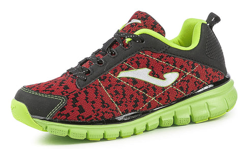 Joma Junior boys trainers TEMPO 606 memory foam red black lime