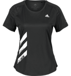 Adidas Ladies 'RUN IT' 3 stripe black Gym Fitness Workout Top