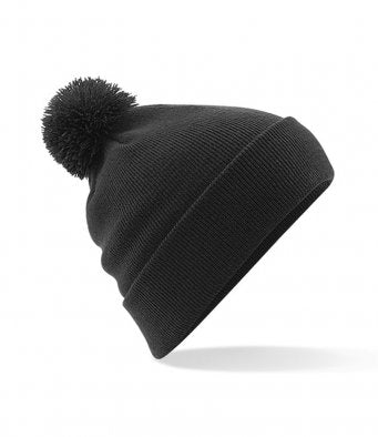 Beechfield Pom Pom Beanie woolly Hat black or burgundy
