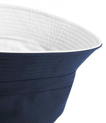 Beechfield Reversible bowls/cricket Bucket Hat Navy/White