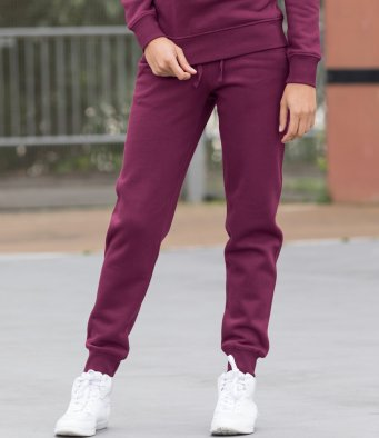 Ladies Clothing Cuffed Jog sweat Pants Burgundy S-XL