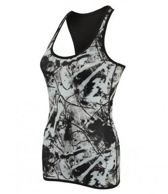 Skinny Fit Ladies Reversible Workout Vest black or pattern