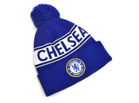 Chelsea text bobble hat blue