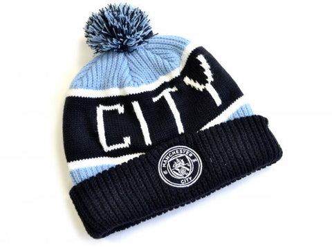 Manchester city calgary cuff bobble hat navy/sky
