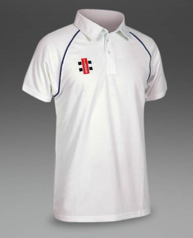 Gray Nicolls Men's Matrix Navy Trim Cricket Shirt S/S.