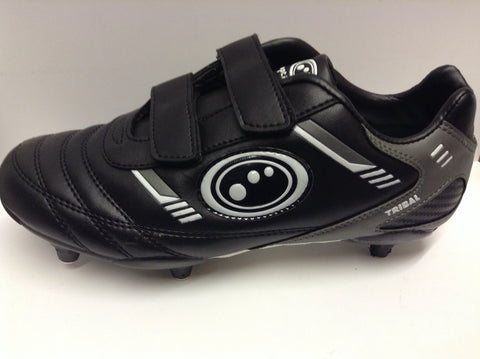 Optimum Tribal Junior football boots (velcro/6 studs) Black and Grey