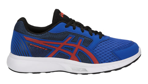 Asics Stormer Junior Boys running trainers shoes blue