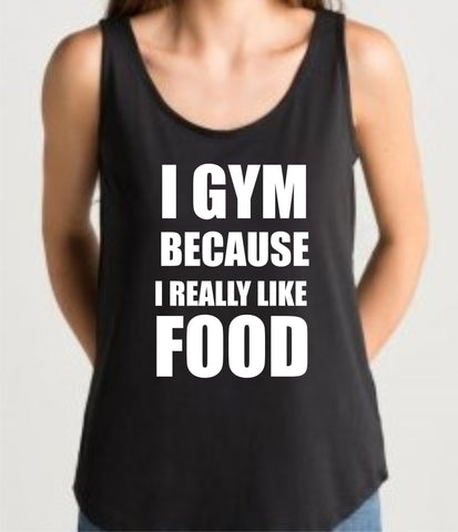 Gym vest 'FOOD' design ladies loose fit black top