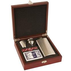 Rosewood boxed Hip Flask, Dice and playing Cards Set Great Gift