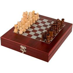 Rosewood Finish Chess Set 23.5cm x 27.5cm Great Gift