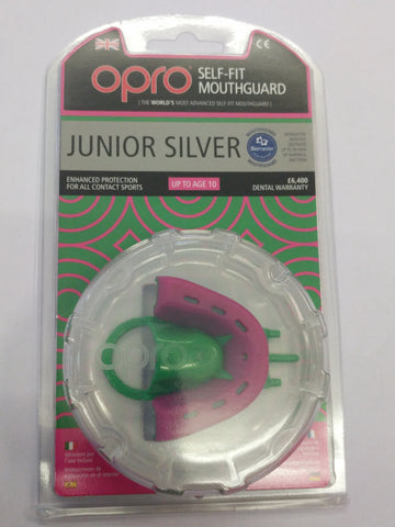 Opro junior Silver protection Self fit Mouthguard gumshield red or pink
