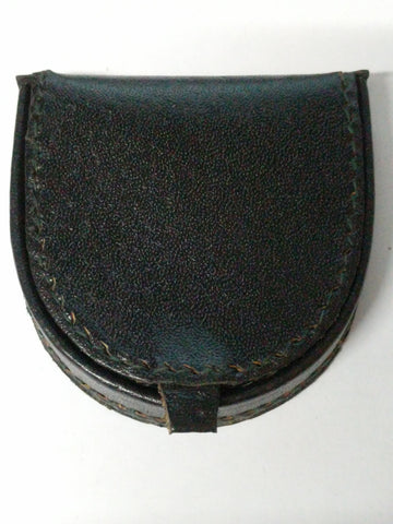 Pocket Coin tray purse wallet Real Leather Black 1589