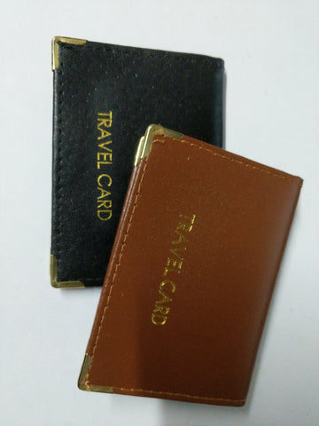 Leather Travel Card Holder Black or Tan