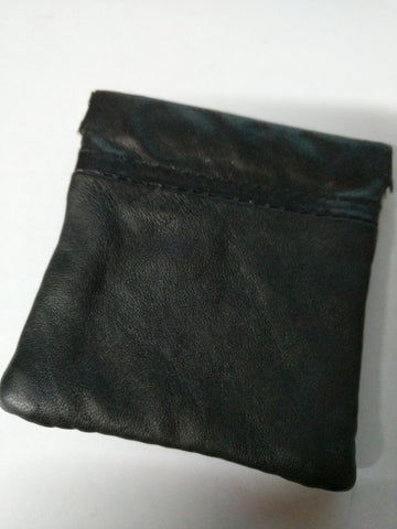 Leather SNAP CLOSE change wallet purse Black (1476)