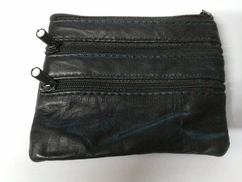 Leather zip compartment Pocket Wallet purse