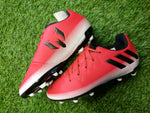 Messi 16.3 Adidas Junior moulded Football Boots lace up red and white